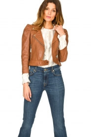 Dante 6 |  Cropped leather biker jacket Jae | brown  | Picture 2