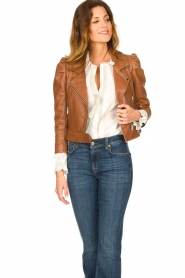 Dante 6 |  Cropped leather biker jacket Jae | brown  | Picture 4