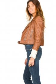 Dante 6 |  Cropped leather biker jacket Jae | brown  | Picture 5
