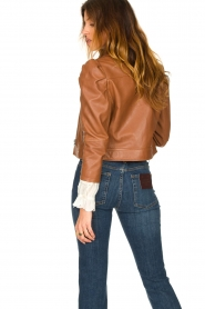 Dante 6 |  Cropped leather biker jacket Jae | brown  | Picture 6