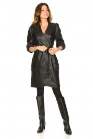Dante 6 |  Leather wrap dress Desire | black  | Picture 3