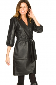 Dante 6 |  Leather wrap dress Desire | black  | Picture 2
