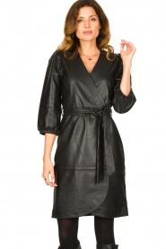 Dante 6 |  Leather wrap dress Desire | black  | Picture 4