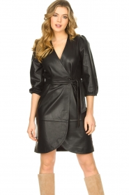Dante 6 |  Leather wrap dress Desire | black  | Picture 2