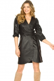 Dante 6 |  Leather wrap dress Desire | black  | Picture 4