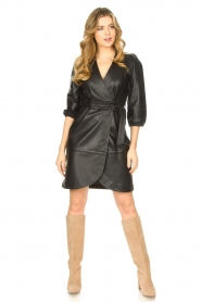 Dante 6 |  Leather wrap dress Desire | black  | Picture 3