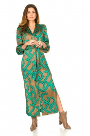 Dante 6 |  Monogram printed maxi dress Magnify | green  | Picture 3