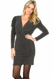 Second Female |  Glitter dress with puff sleeves Crawford | black  | Picture 4