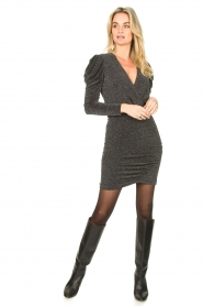 Second Female |  Glitter dress with puff sleeves Crawford | black  | Picture 3