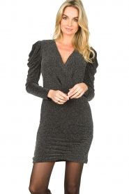 Second Female |  Glitter dress with puff sleeves Crawford | black  | Picture 2