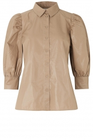 Second Female |  Shiny blouse with puff sleeves Lamour | beige  | Picture 1