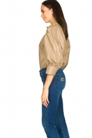 Second Female |  Shiny blouse with puff sleeves Lamour | beige  | Picture 6