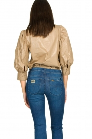 Second Female |  Shiny blouse with puff sleeves Lamour | beige  | Picture 7