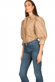Second Female |  Shiny blouse with puff sleeves Lamour | beige  | Picture 5