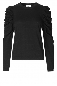 Second Female |  Lurex sweater with puff sleeves Ytta | black  | Picture 1
