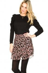 Second Female |  Lurex sweater with puff sleeves Ytta | black  | Picture 2