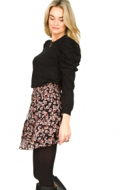 Second Female |  Lurex sweater with puff sleeves Ytta | black  | Picture 4