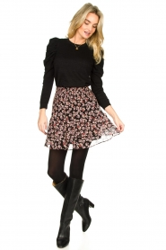 Second Female |  Lurex sweater with puff sleeves Ytta | black  | Picture 3