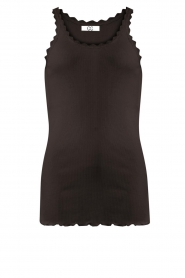 CC Heart |  Silk rib top with lace Liv | black  | Picture 1