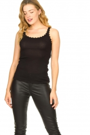 CC Heart |  Silk rib top with lace Liv | black  | Picture 3
