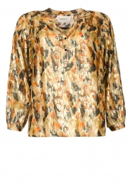 ba&sh |  Silk lurex top with print Gaby | yellow  | Picture 1