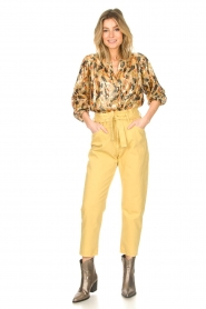 ba&sh |  Silk lurex top with print Gaby | yellow  | Picture 3