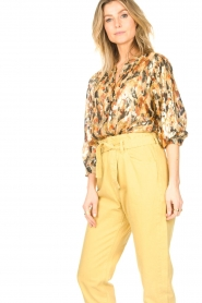 ba&sh |  Silk lurex top with print Gaby | yellow  | Picture 6