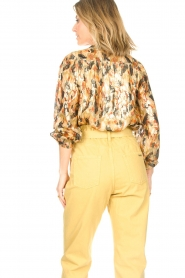 ba&sh |  Silk lurex top with print Gaby | yellow  | Picture 7
