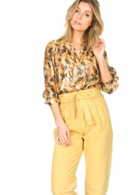 ba&sh |  Silk lurex top with print Gaby | yellow  | Picture 5