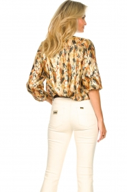 ba&sh |  Silk lurex top with print Gaby | yellow  | Picture 8