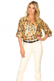 ba&sh |  Silk lurex top with print Gaby | yellow  | Picture 4