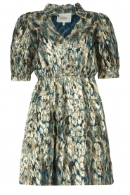 ba&sh |  Silk lurex dress with print Gloria | blue  | Picture 1
