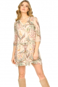 ba&sh |  Semi sheer dress with floral print Goya | naturel  | Picture 4