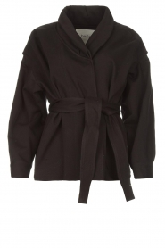 ba&sh |  Cotton jacket with waistbelt Lost | black  | Picture 1