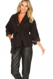 ba&sh |  Cotton jacket with waistbelt Lost | black  | Picture 5