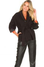 ba&sh |  Cotton jacket with waistbelt Lost | black  | Picture 2