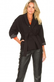 ba&sh |  Cotton jacket with waistbelt Lost | black  | Picture 4