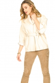 ba&sh |  Cotton jacket with waistbelt Lost | off white  | Picture 5