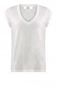 CC Heart |  Cotton mix v-neck t-shirt Vera | white  | Picture 1