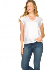 CC Heart |  Cotton mix v-neck t-shirt Vera | white  | Picture 3