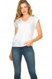 CC Heart |  Cotton mix v-neck t-shirt Vera | white  | Picture 2