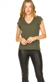 CC Heart |  Cotton mix v-neck t-shirt Vera | green  | Picture 3