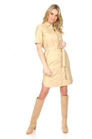 Set |  Lamb leather dress with button-up design Videl | beige  | Picture 3