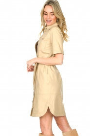 Set |  Lamb leather dress with button-up design Videl | beige  | Picture 6