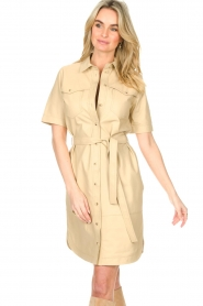 Set |  Lamb leather dress with button-up design Videl | beige  | Picture 2