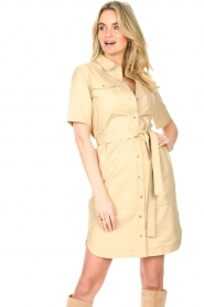 Set |  Lamb leather dress with button-up design Videl | beige  | Picture 5