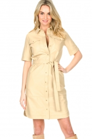 Set |  Lamb leather dress with button-up design Videl | beige  | Picture 4