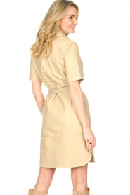 Set |  Lamb leather dress with button-up design Videl | beige  | Picture 7