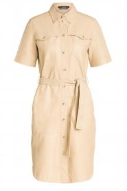 Set |  Lamb leather dress with button-up design Videl | beige  | Picture 1