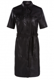 Set |  Lamb leather dress with button-up design Videl | black  | Picture 1